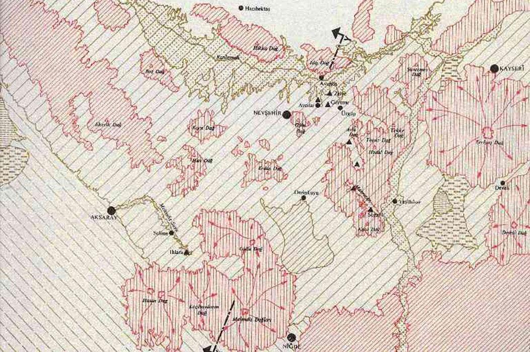 Map of Geological Regions of Cappadocia